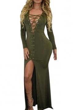 Womens Plain Long Sleeve Deep V Neck Lace-up Slit Maxi Dress Green