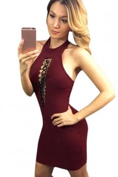 Womens Sexy Sleeveless Halter Bandage Cut Out Clubwear Dress Ruby
