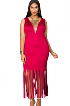Womens Plain Round Neck Sleeveless Fringed Plus Size Dress Red