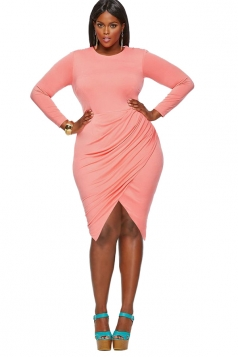Womens Crewneck Long Sleeve Asymmetric Plus Size Dress Watermelon Red