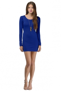 Womens Plain Round Neck Long Sleeve Backless Slim Dress Blue