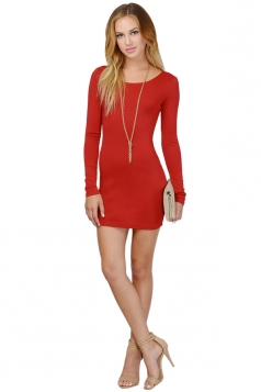 Womens Plain Round Neck Long Sleeve Backless Slim Dress Red