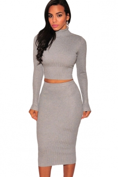 Womens Plain High Collar Long Sleeve Knit Top & Midi Skirt Suit Gray