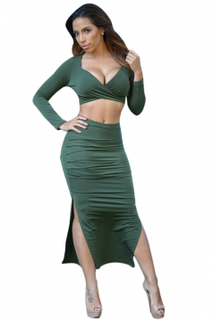 Womens Deep Plunge Neck Long Sleeve Crop Top & Slit Skirt Suit Green
