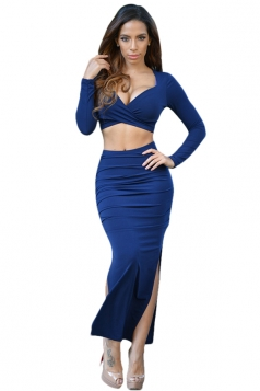 Womens Plunge Neck Long Sleeve Crop Top & Slit Skirt Suit Navy Blue