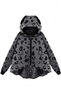 Womens Stylish Leopard Print Hooded Zipper Cotton-padded Coat Gray