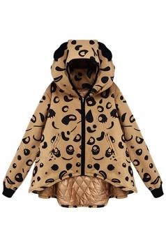 Womens Stylish Leopard Print Hooded Zipper Cotton-padded Coat Yellow
