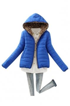 Womens Slim Long Sleeve Hooded Leopard Zipper Cotton-padded Coat Blue