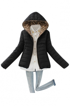 Womens Slim Long Sleeve Hooded Leopard Zipper Cotton-padded Coat Black