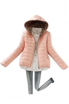 Womens Slim Long Sleeve Hooded Leopard Zipper Cotton-padded Coat Pink
