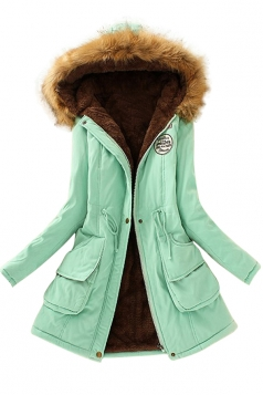 Womens Faux Fur Hooded Drawstring Thick Lined Parka Coat Green