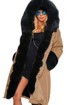 Womens Detachable Faux Fur Hooded Thick Warm Parka Coat Khaki