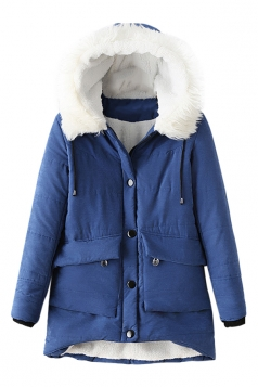 Womens Hooded Fur Collar Long Sleeve Pocket Cotton-padded Coat Blue