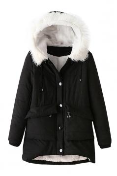 Womens Hooded Fur Collar Long Sleeve Pocket Cotton-padded Coat Black
