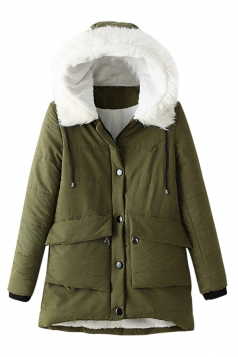 Womens Hooded Fur Collar Long Sleeve Pocket Cotton-padded Coat Green