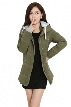 Womens Long Sleeve Hooded Color Block Cotton-padded Coat Green