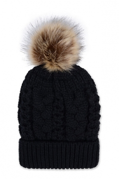 Womens Plain Fur Pom Pom Thick Warm Cable Knit Hat Black