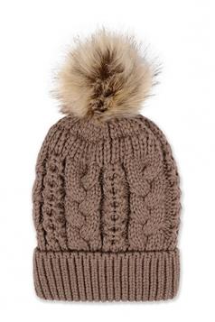 Womens Plain Fur Pom Pom Thick Warm Cable Knit Hat Coffee