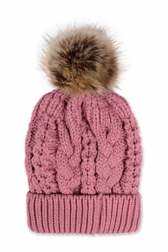 Womens Plain Fur Pom Pom Thick Warm Cable Knit Hat Pink
