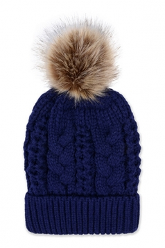 Womens Plain Fur Pom Pom Thick Warm Cable Knit Hat Navy Blue