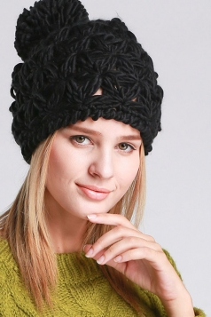 Womens Plain Yarn Ball Embellished Hollow Out Hand Knit Hat Black