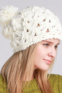 Womens Plain Yarn Ball Embellished Hollow Out Hand Knit Hat White