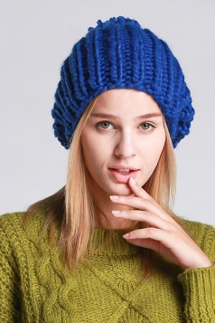 Womens Plain Pom Pom Embellished Thick Warm Cable Knit Hat Blue