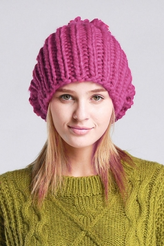 Womens Plain Pom Pom Embellished Thick Warm Cable Knit Hat Rose Red