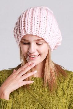 Womens Plain Pom Pom Embellished Thick Warm Cable Knit Hat Pink