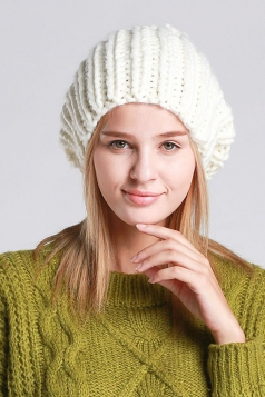 Womens Plain Pom Pom Embellished Thick Warm Cable Knit Hat White