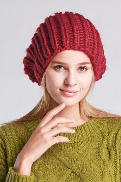 Womens Plain Pom Pom Embellished Thick Warm Cable Knit Hat Ruby