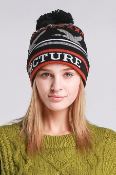 Womens Beautiful Patterns Pom Pom Embellished Knit Hat  Black