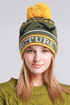 Womens Beautiful Patterns Pom Pom Embellished Knit Hat Green