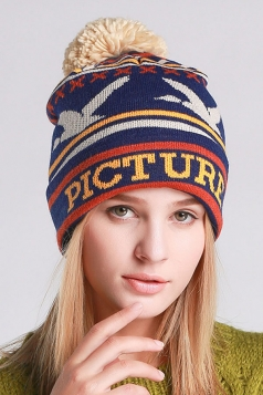 Womens Beautiful Patterns Pom Pom Embellished Knit Hat  Navy Blue