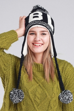 Womens Print Pom Pom Embellished Thick Lined Warm Knit Hat Black