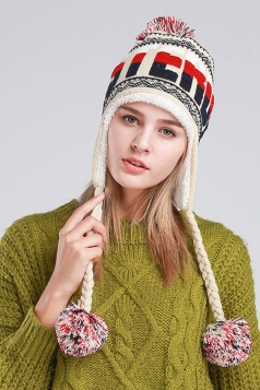Womens Print Pom Pom Embellished Thick Lined Warm Knit Hat Beige White