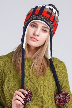 Womens Print Pom Pom Embellished Thick Lined Warm Knit Hat Coffee