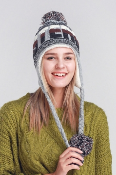 Womens Print Pom Pom Embellished Thick Lined Warm Knit Hat Gray