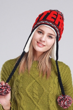 Womens Print Pom Pom Embellished Thick Lined Warm Knit Hat Red