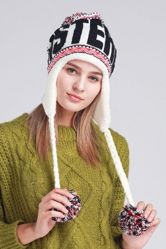 Womens Print Pom Pom Embellished Thick Lined Warm Knit Hat White
