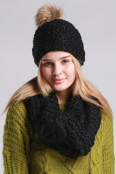 Womens Plain Pom Pom Thick Warm Hand Knitted Hat & Scarf Set Black