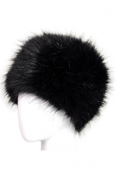 Womens Warm Faux Fox Fur Hat Russian Style Winter Cap Black