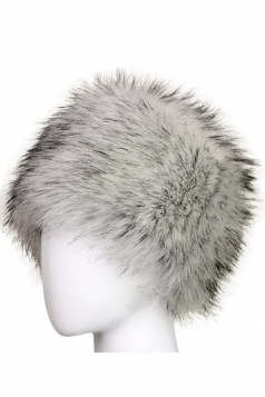 Womens Warm Faux Fox Fur Hat Russian Style Winter Cap Light Gray
