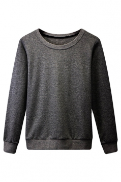 Womens Plain Round Neck Long Sleeve Pullover Sweatshirt Dark Gray