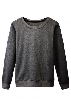 Womens Plain Round Neck Long Sleeve Pullover Sweatshirt Dark Gray