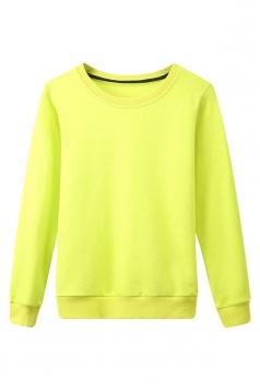 Womens Plain Round Neck Long Sleeve Pullover Sweatshirt Green