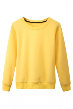 Womens Plain Round Neck Long Sleeve Pullover Sweatshirt Yellow
