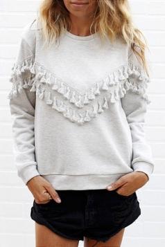 Womens Plain Long Sleeve Crew Neck Fringed Sweatshirt Gray