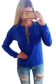 Womens Plain Crewneck Long Sleeve Zipper Pullover Sweatshirt Blue