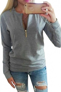 Womens Plain Crewneck Long Sleeve Zipper Pullover Sweatshirt Gray